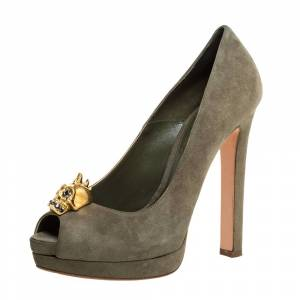 Alexander McQueen Olive Green Suede Taupe Skull Peep Toe Pumps Size 36.5