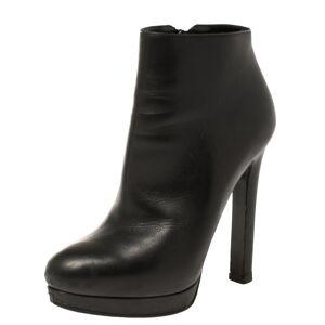 Alexander McQueen Black Leather Platform Ankle Boots Size 36