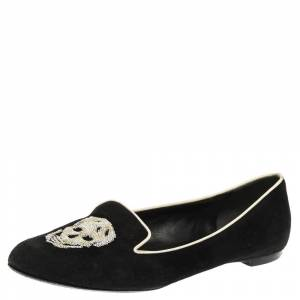 Alexander McQueen Black Suede Leather Sequins Skull Embellished Smoking Slippers Size 38.5