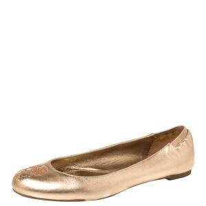 Alexander McQueen Gold Leather Sequin Skull Ballet Flats Size 39.5