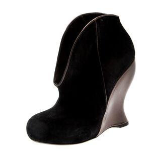 Bottega Veneta Black Suede Wedge Ankle Boots Size 35.5