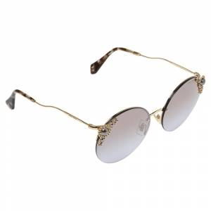 Miu Miu Gold Tone/ Grey Gradient SMU52T Manière Round Sunglasses