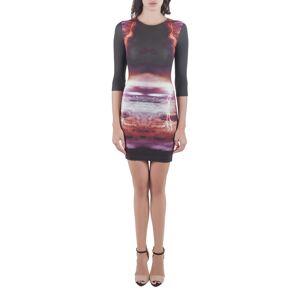 Alexander McQueen Black Engineered Lightning Print Stretch Knit Bodycon Dress XS