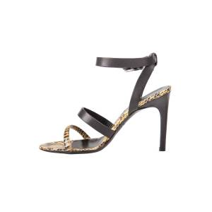 Alexander McQueen Yellow Python And Black Leather Cleo Ankle Strap Sandals Size 37