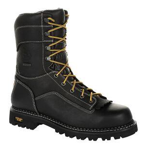 """Georgia Boot Amp LT Low-Heel Logger 9"""" CT WP Men's Black Boot 8 W"""