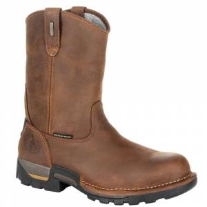 """Georgia Boot Eagle One 10"""" Pull-On Soft Toe WP Men's Brown Boot 8 W"""