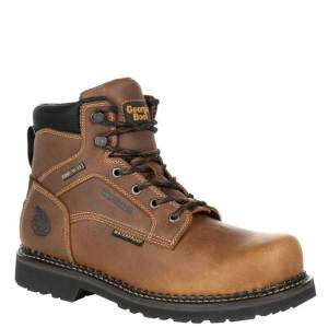 "Georgia Boot RevAMP 6"" Steel Toe Met Guard WP Men's Brown Boot 9 M"