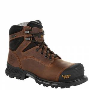 """Georgia Boot Rumbler 6"""" Soft Toe WP Men's Brown Boot 10.5 M"""