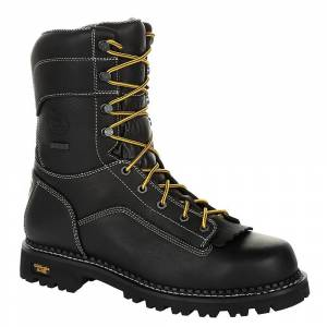 "Georgia Boot Amp LT Low-Heel Logger 9"" WP Men's Black Boot 11 W"