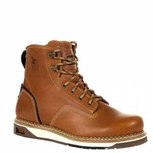 "Georgia Boot Amp LT Wedge 6"" Steel Men's Brown Boot 10 W"