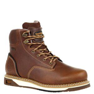 "Georgia Boot Amp LT WP Wedge 6"" Soft Men's Brown Boot 8.5 W"