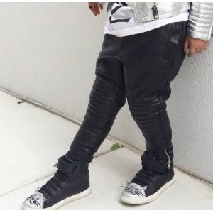 Eve-Jnr Unisex Leather Harem Leggings in Onyx - Size: 5
