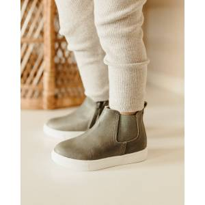 Consciously Baby Shoes Waxed Leather Chelsea Boot 'Yosemite Green' Hard Sole - Size: 3 Toddler