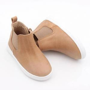 Consciously Baby Shoes Waxed Leather Chelsea Boot 'Sedona Brown' Hard Sole  - Size: 7 (2 - 3 years)