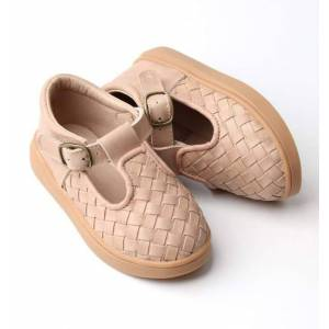 Consciously Baby Shoes Leather Woven T-Bar   Color 'Stone'   Hard Sole - Size: 3 Toddler