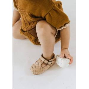 Consciously Baby Shoes Leather Woven T-Bar   Color 'Stone'   Soft Sole - Size: 9-12 Mo