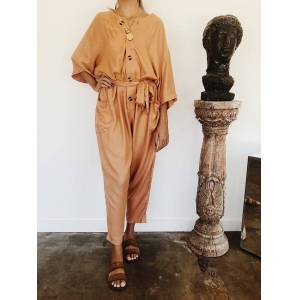 Vetiver Avalon Boiler Suit in Bisque  - Size: 2