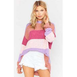 Show Me Your Mumu Woodsy Sweater Sunset Stripe Knit  - Size: Extra Small