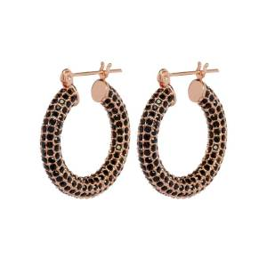 Luv Aj Pave Baby Amalfi Hoops- Rose Gold & Jet - OS - female