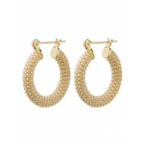 Luv Aj Pave Baby Amalfi Hoops - Gold & Pearl - OS - female