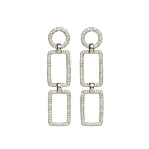Luv Aj The Pave Chain Link Earrings - Silver - OS - female