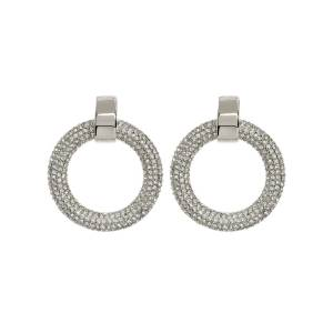 Luv Aj The Pave Door Knocker Hoops - Silver - OS - female