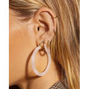 Luv Aj Stone Amalfi Hoops - Rose Quartz - OS - female