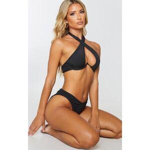 PrettyLittleThing Black Underwire Cross Front Bikini Top - Black - Size: 12