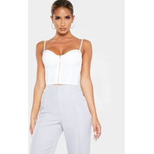 PrettyLittleThing White Woven Bust Detail Zip Front Corset - White - Size: 0