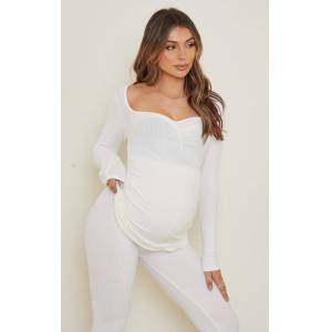 PrettyLittleThing Maternity Cream Ruched Bust Brushed Rib Top - Cream - Size: 10