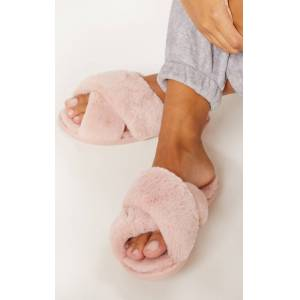 PrettyLittleThing Pink Fluffy Cross Strap Slippers - Pink - Size: L