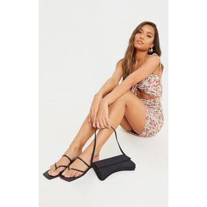 PrettyLittleThing Black Real Leather Toe Loop Slide On Square Toe Sandals - Black - Size: 9