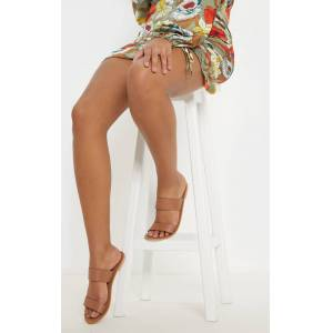 PrettyLittleThing Tan Twin Strap Basic Leather Sandal - Tan - Size: 5