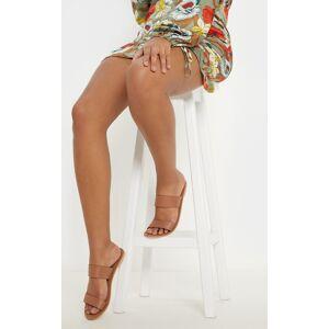 PrettyLittleThing Tan Twin Strap Basic Leather Sandal - Tan - Size: 8