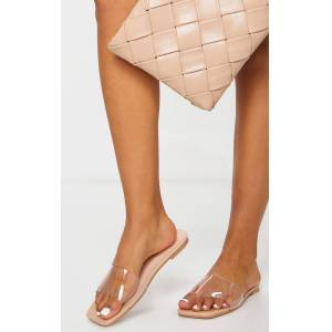 PrettyLittleThing Nude Pu Clear Strap Mule Sandals - Nude - Size: 10