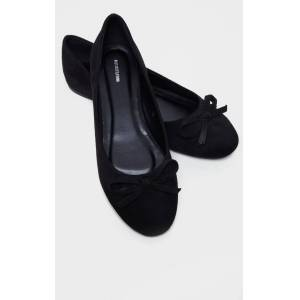 PrettyLittleThing Black Wide Fit Round Toe Ballet Shoes - Black - Size: 8