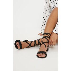 PrettyLittleThing Black Basic Leather Sandal - Black - Size: 7