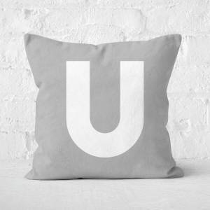 By IWOOT Letter U Square Cushion - 50x50cm - Soft Touch