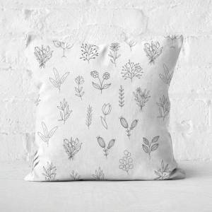 By IWOOT Hand Drawn Flower Pattern Square Cushion - 40x40cm - Soft Touch