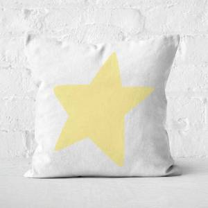 By IWOOT Light Yellow Star Square Cushion - 50x50cm - Soft Touch