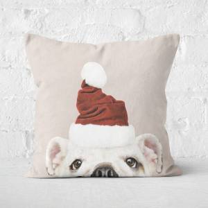 By IWOOT Christmas Bulldog Square Cushion - 50x50cm - Soft Touch