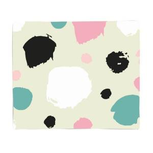By IWOOT Pink, Green And Black Circle Pattern Fleece Blanket