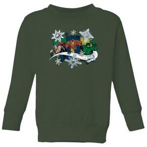 Marvel Thor Iron Man Hulk Snowflake Kids' Christmas Sweatshirt - Forest Green - 7-8 Years - Forest Green