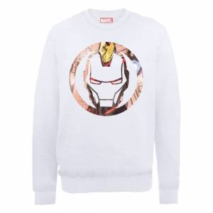 Marvel Avengers Assemble Iron Man Montage Sweatshirt - White - XXL - White