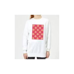 IWOOT FLORAL PATTERN Women's Sweatshirt - White - M - White