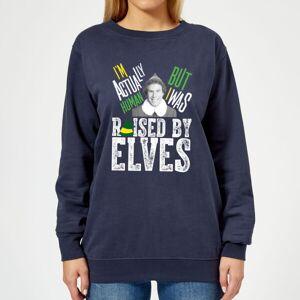 Elf Raised By Elves Women's Christmas Sweatshirt - Navy - M - Navy