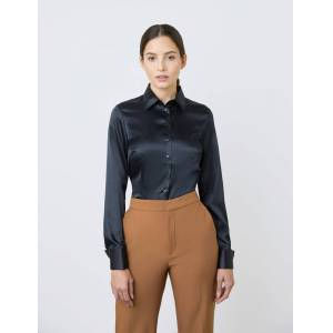 Hawes & Curtis Women's Fitted Satin Shirt in Black Size 2 Double Cuff