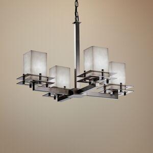 """Justice Design Clouds Metropolis 25""""W Brushed Nickel 4-Light Chandelier - Style # 53V32"""