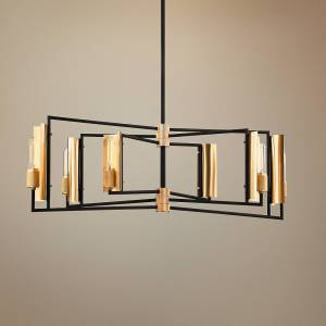 "Troy Emerson 37""W Black and Brass Kitchen Island Light Pendant - Style # 68F11"