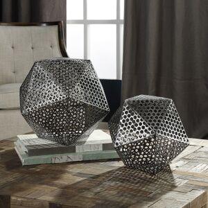 Uttermost Kimora Aged Bronze Icosahedron Decorative Objects Set of 2 - Style # 88E63